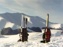 Freeride skiing in the Carpathians, Ukraine